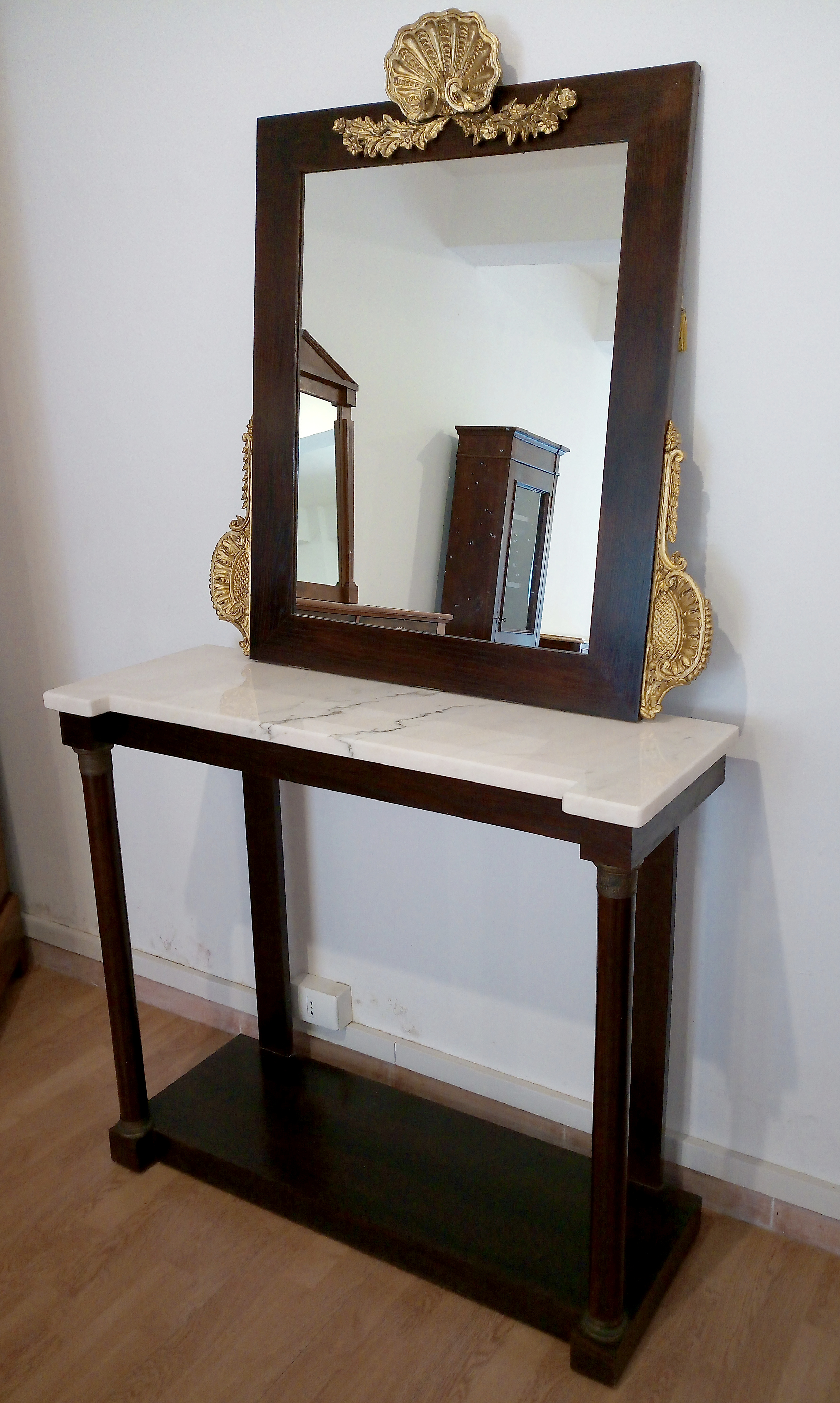 Console avec miroir de style classique italien vintage